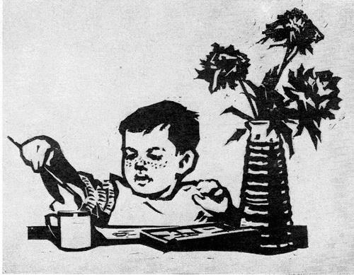 Нинель Дмитриевна Пирогова «Художник» Линогравюра. 1964 г.