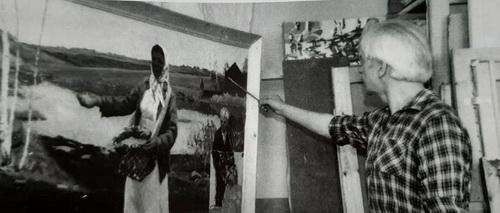 М.Г. Богатырёв за работой над картиной   «Весна 43-го. Сеятельница.»