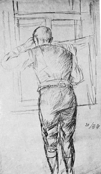 Фигура рабочего у окна Карандаш. 1934 год