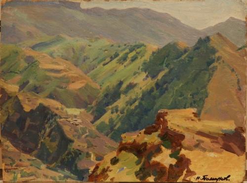 Н.П. Толкунов  «Ущелье. Дагестан.»  к.м.  25.5х34 см. 1949 г.