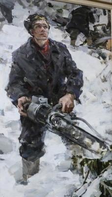Вячеслав Фёдорович Шумилов «Лесоруб» Xолст, масло. 1962 г.