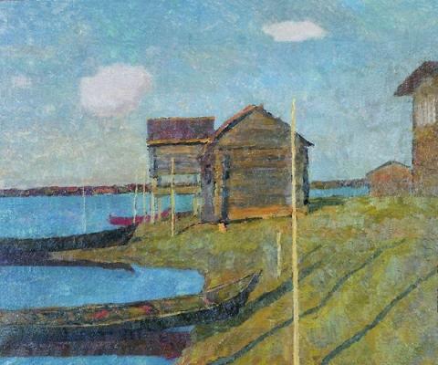 Ефрем Зверьков  «Пейзаж с лодкой» Холст, масло. 70х85 см  1966 г.