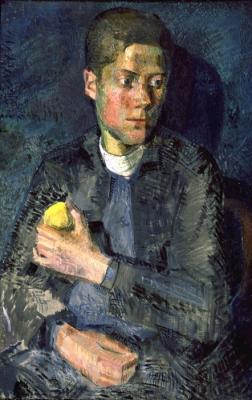 Владимир Малагис «Мальчик с яблоком»  1927 г. Холст, масло. 106x71 см. Государственный Русский музей.