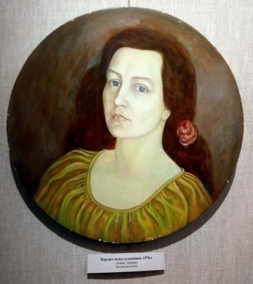 Виктор Ни «Портрет жены» портрет Галины Васильевны Ни. Левкас, темпера. 1970 г.