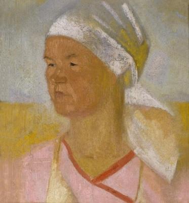 Владимир Малагис «Колхозница»  Холст, масло. 40 x 38см.  между 1930 и 1932 годом. ГРМ.