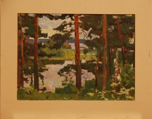 Н.П. Толкунов  «Озеро Сенеж. Сосны.» х.к.м.  32х42 см. 1965 г.