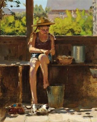 Владимир Малагис «На крыльце»  1952 г. Холст, масло. 97,8 x 78,7 см. Частное собрание.