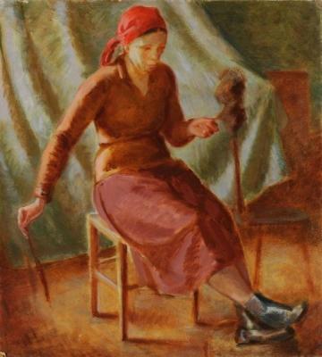 З.Я. Матвеева-Мостовая «Пряха»  1934 г.  Саратовский государственный художественный музей имени А. Н. Радищева