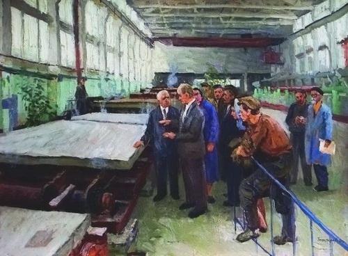 М.Г. Богатырёв «Н.С. Хрущев на домостроительном комбинате» Холст, масло. 1960г.