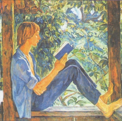 Ирина Шевандронова «Миша на террасе» (Портрет сына) Холст, масло.  1973 г.