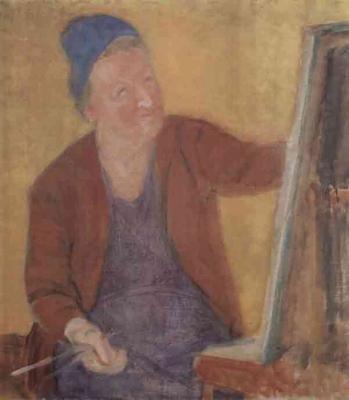 З.Я. Матвеева-Мостовая «Автопортрет за мольбертом» 1970 г.