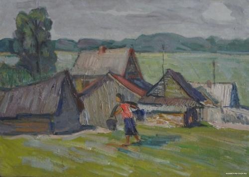Виктор Ни «В совхозном хозяйстве» 1969 г.  48х34 см Картон, масло.