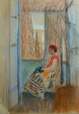 В.Т. Ни «У окна. Гурзуф.»  Бумага, пастель. 40,5х59  см. 1970-е годы