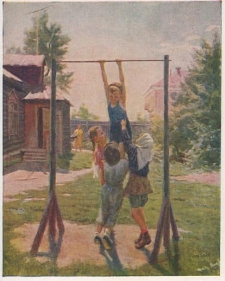 Открытка с картины М.Г. Богатырёва «Будущие чемпионы»  1957 г.