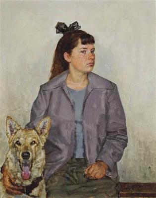 Владимир Малагис «Девушка с собакой»  1964 г. Холст, масло. 97,8х78,1 см. Частное собрание.