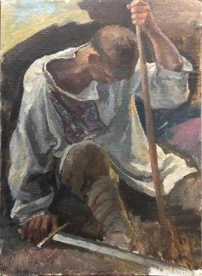 Овечкин Николай Васильевич. Богатырь. 1960-е годы, холст на картоне, масло, 69 x 50 см