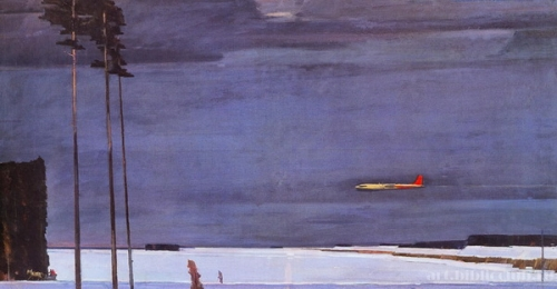 Нисский Георгий Григорьевич  «Над снегами» Холст, масло.  1960 г.