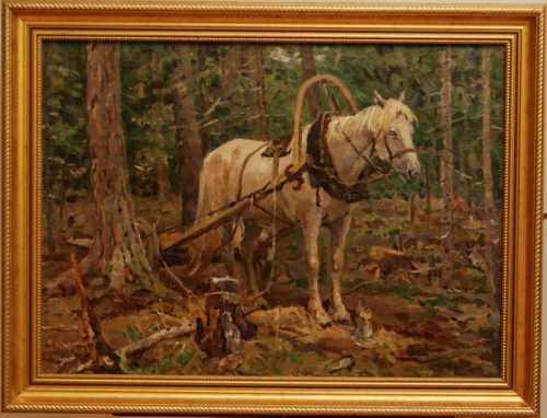 Н.П. Толкунов  «Лошадка в лесу» х.м.  44.5х60 см. 1951 г.