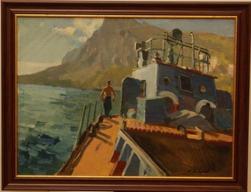 Н.П. Толкунов  «Баржа» (этюд к картине «49 дней в океане») х.м.  52х70 см. 1960 г.