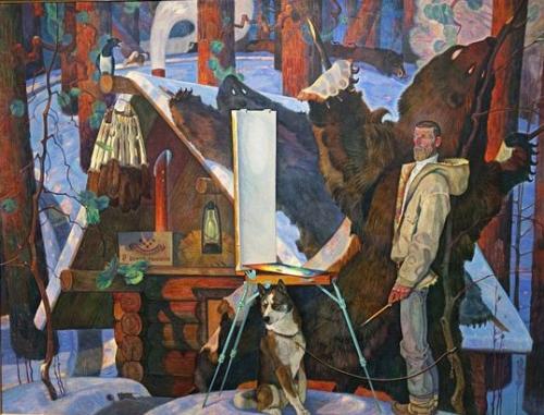 Вячеслав Самарин Центральная часть триптиха «Промысел» ДВП, масло. 1978-1980 г.