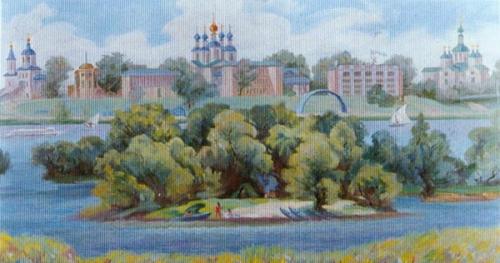 С.Т. Куксов «Тамбовская набережная» 1996 г, х.м.,50х100 см