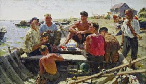 Спорыхин Борис Тихонович.  Рыбаки Дона. 1959-60 гг. Холст, масло.