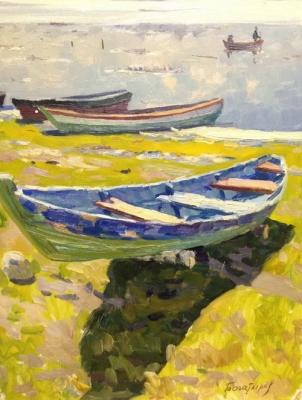 М.Г. Богатырёв «На озере Плещеевом» Картон, масло. 1960 г.