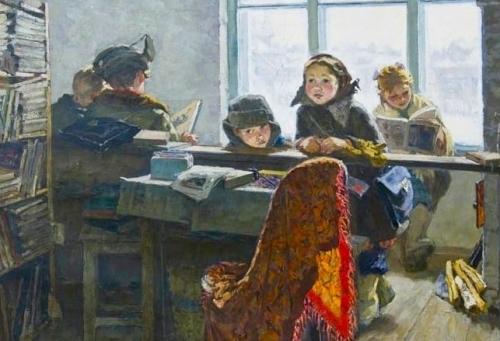 Ирина Шевандронова «Сельская библиотека»  1953 г. ГТГ