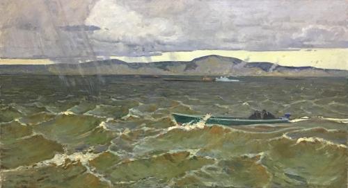Алексей Иванович Бородин «Волга шумит» 1960 г. Холст, масло. 100х180 см