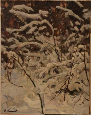 Н.П. Толкунов «Зима» х.м.  69х54 см. 1970 г.