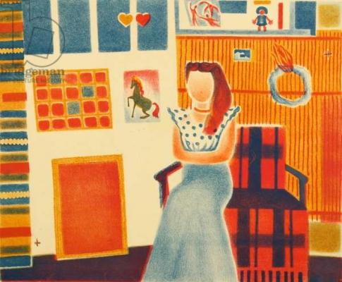 Татьяна Алёшина «Моя мастерская» Цветная литография. 1975 г.
