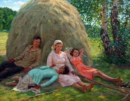 М.Г. Богатырёв «Мирные будни» Холст, масло.
