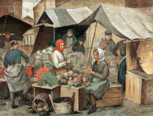 З.Я. Матвеева-Мостовая «На рынке» 1920-е годы. Из собрания Романа Бабичева.