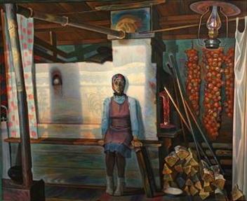 Вячеслав Самарин «Васильевна. Утренний свет»( левая часть диптиха) 1981 г.