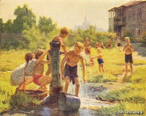 Открытка с картины М.Г. Богатырёва «Жаркое лето»