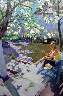 М.Г. Богатырёв «Яблоня в цвету» Холст, масло. 1958 г.
