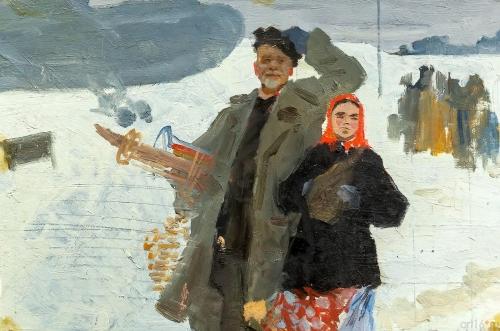 Лотфулла Фаттахов. Эскиз к картине «Из города». Картон, масло.