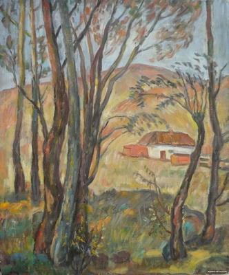 Виктор Ни «Башкирский пейзаж» Картон, масло. 60х49,5 см. 1970 г.