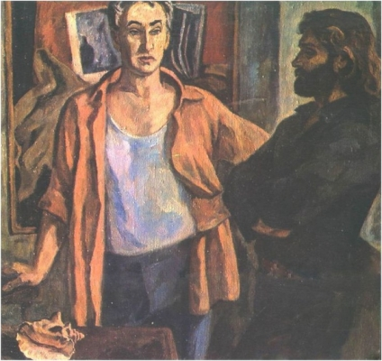Ирина Шевандронова «Портрет художников А. А. Тутунова и В. А. Попкова»  1980 г.
