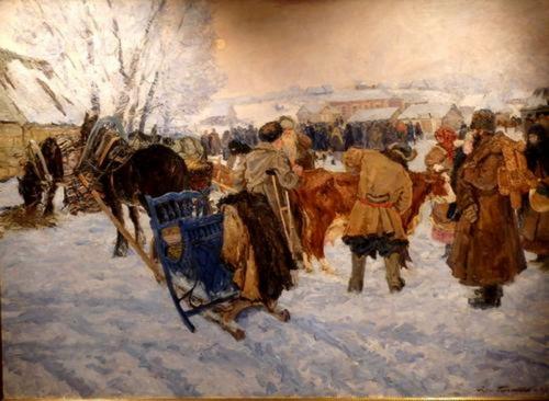 Владимир Малагис «Колхозный базар»  1947 г. Нижегородский художественный музей.