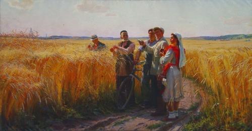 Лотфулла Фаттахов. Хлеба созрели. Холст, масло. 1952 г. Нижнетагильский музей изобразительных искусств.