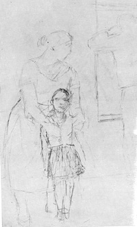 Женщина с ребёнком Карандаш 1934 год